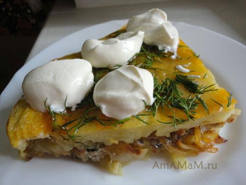 Рецепт картофельной запеканки с вешенками (можно взять шампиньоны или лисички).