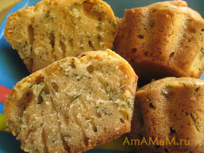 Рецепт кексов с сыром и укропом - соленая выпечка к вину, есть фото