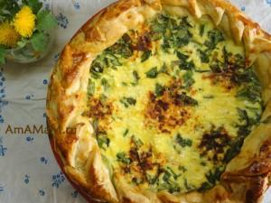 Фото лукового пирога из зеленого лука и рецепт