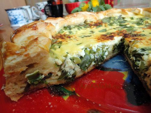 Кусочек пирога с зеленым луком в яйце и сыре