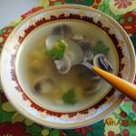 Суп из шампиньонов на говяжьем бульоне