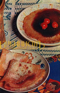 Рецепт с открытки - детские блинчики с вареньем
