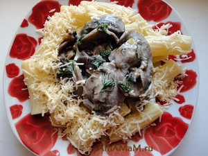Макароны с грибами - очень простой и вкусный рецепт с фото