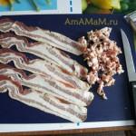 Пошаговые фото приготовления рулета из лаваша - начинка из бекона (мясная)