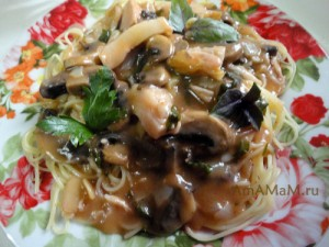Простой рецепт: спагетти, бекон, грибы и фото