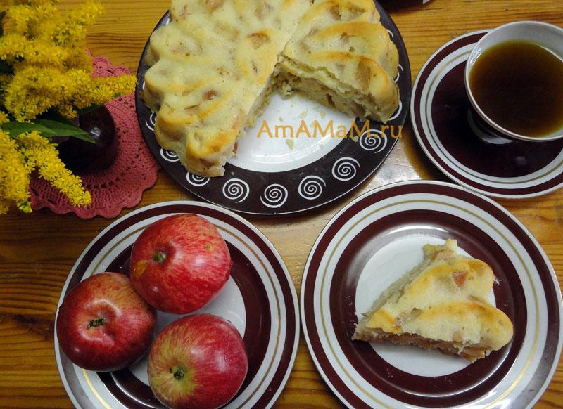 Состав теста на кефире для яблочных пирогов и фото пирога