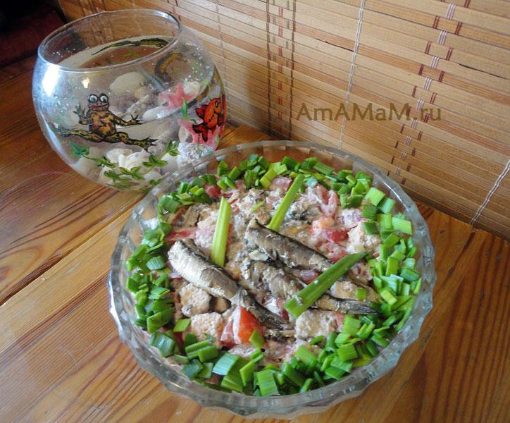 Как сделать салат со шпротами- рецепт и фото
