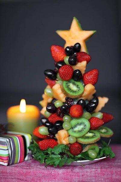 Елка из винограда, киви, клубники и других фруктов - десерт на Новогодний стол