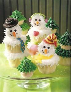 Идеи новогодней выпечки - кексы-снеговики