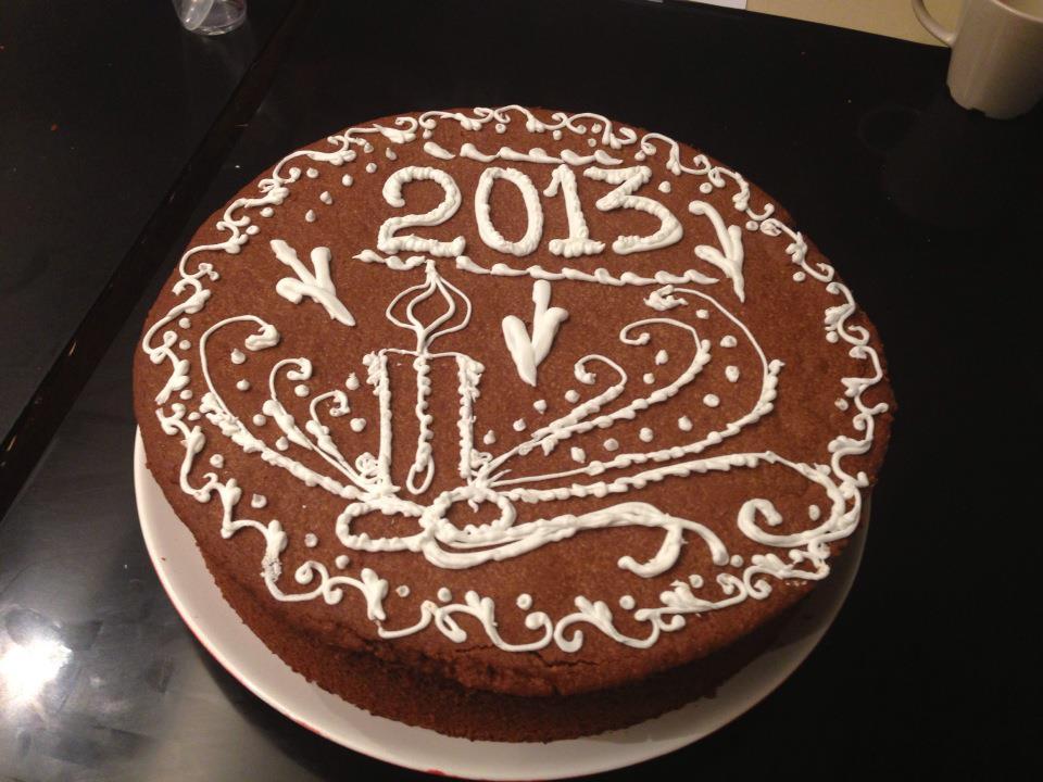 Новогодний рисунок на торте или пироге - пример