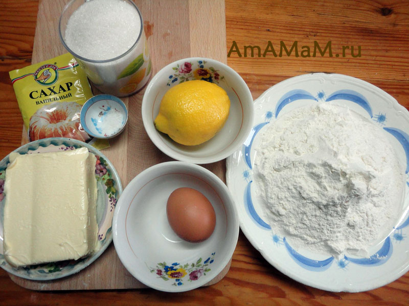 Состав продуктов для песочного печенья