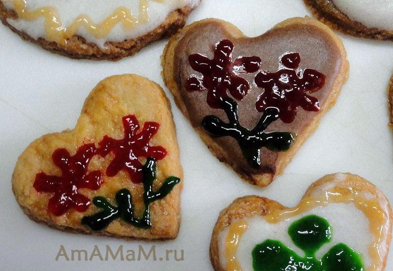 Валентинки — сердечки из печенья