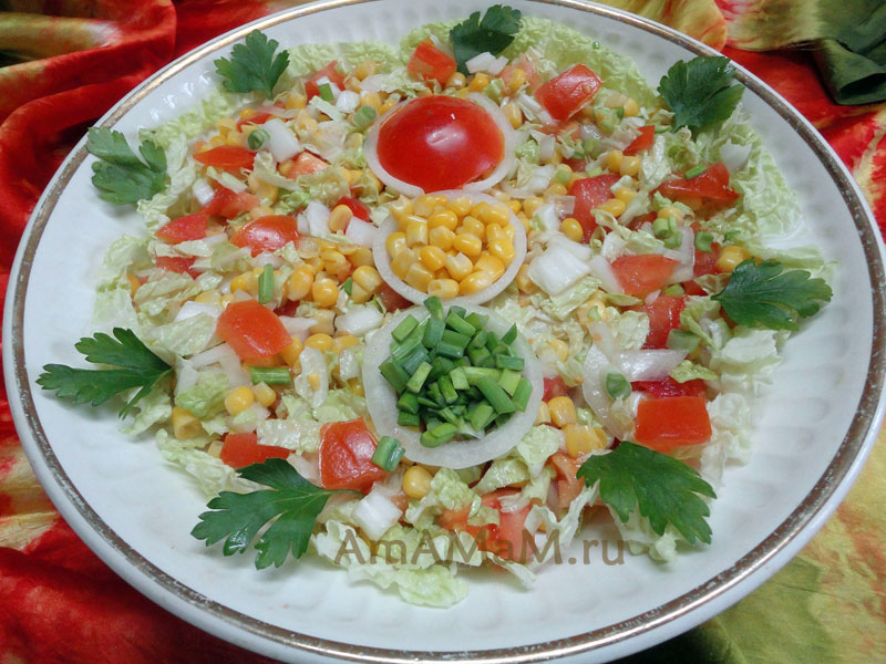 Рецепт и украшение овощного салата
