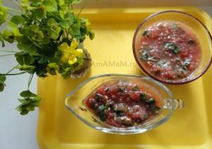 Очень вкусный соус к мясу, рыбе, макаронам, рису из помидоров и базилика