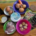 Набор продуктов для гречневой запеканки со свининой и грибами