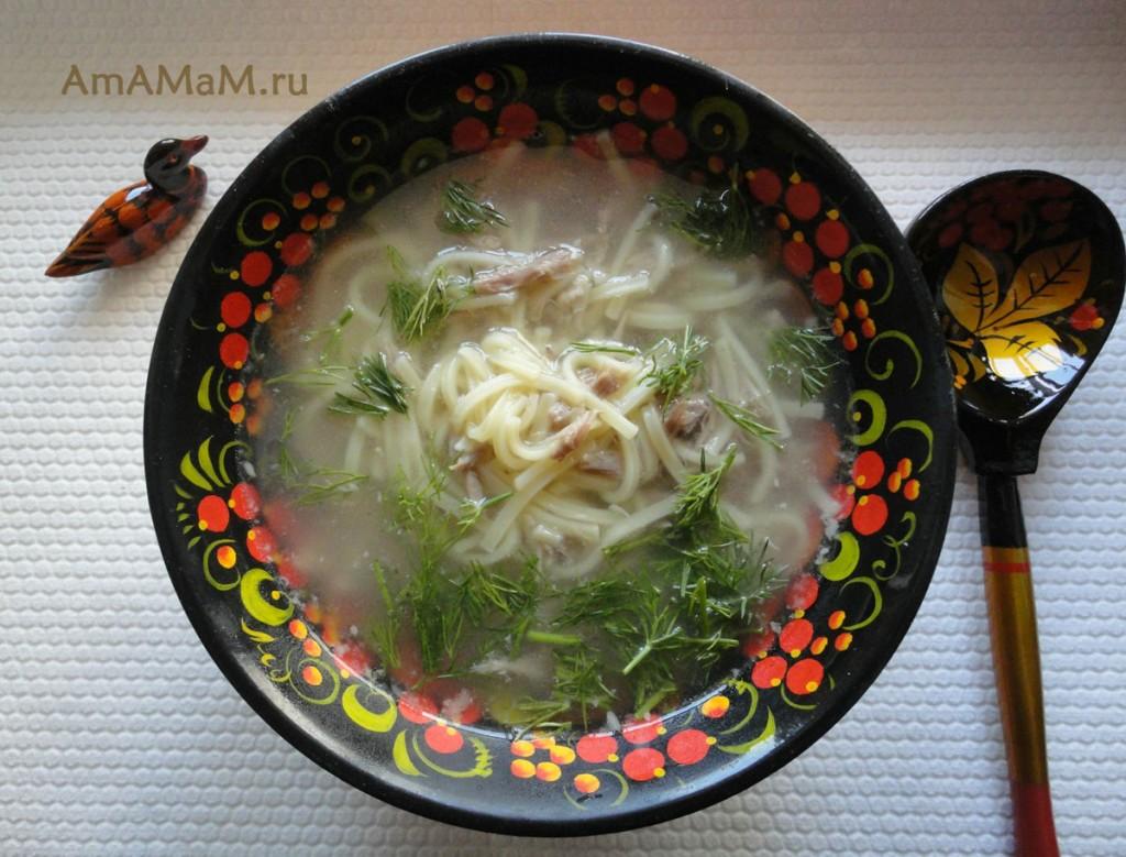 Рецепт супа-лапши на утином бульоне с утиными шейками
