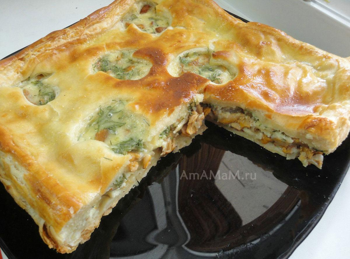 Грибной пирог из слоеного теста рецепт с фото пошагово в духовке