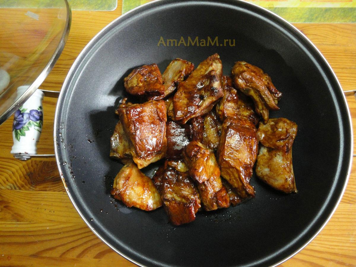 Ребрышки на сковороде с медом пошагово