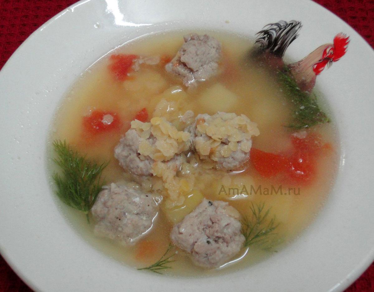 Суп с фрикадельками и красной чечевицей рецепт