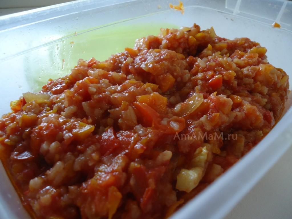 Заготовка из помидоров, перца и риса - консервирование салатов