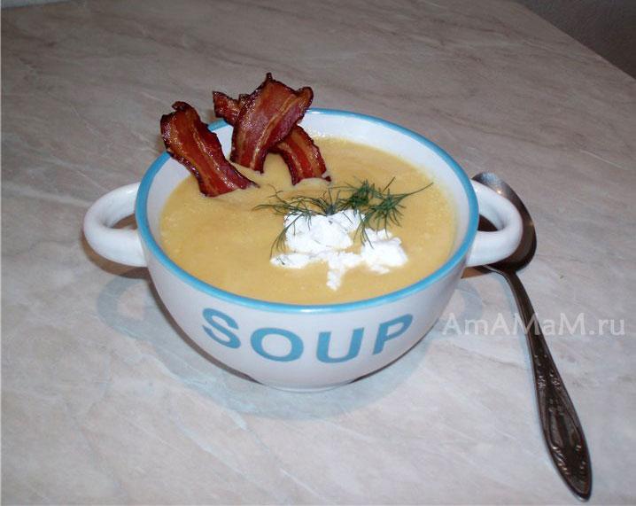 Рецепт приготовления супа-пюре из кабачков, тыквы, сливок , сыра и бекона
