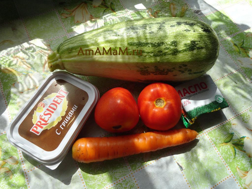 Ингредиенты супа с плавленым сыром и кабачками