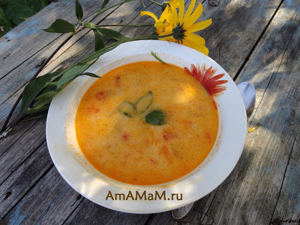 рецепт супа с плавленными сыркамии кабачком
