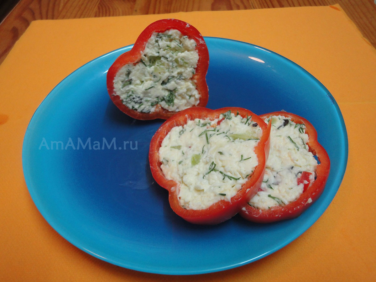 рецепт закуски с плавленным сыром в болгарском перце