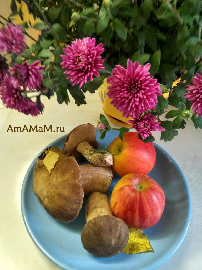 Белые грибы, яблоки и астры - осенний натюрморт