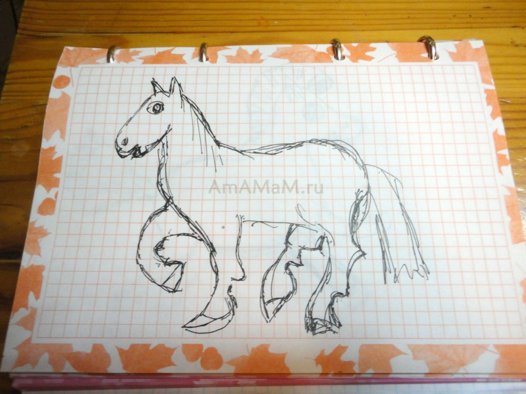 Как нарисовать лошадь- простой рисунок