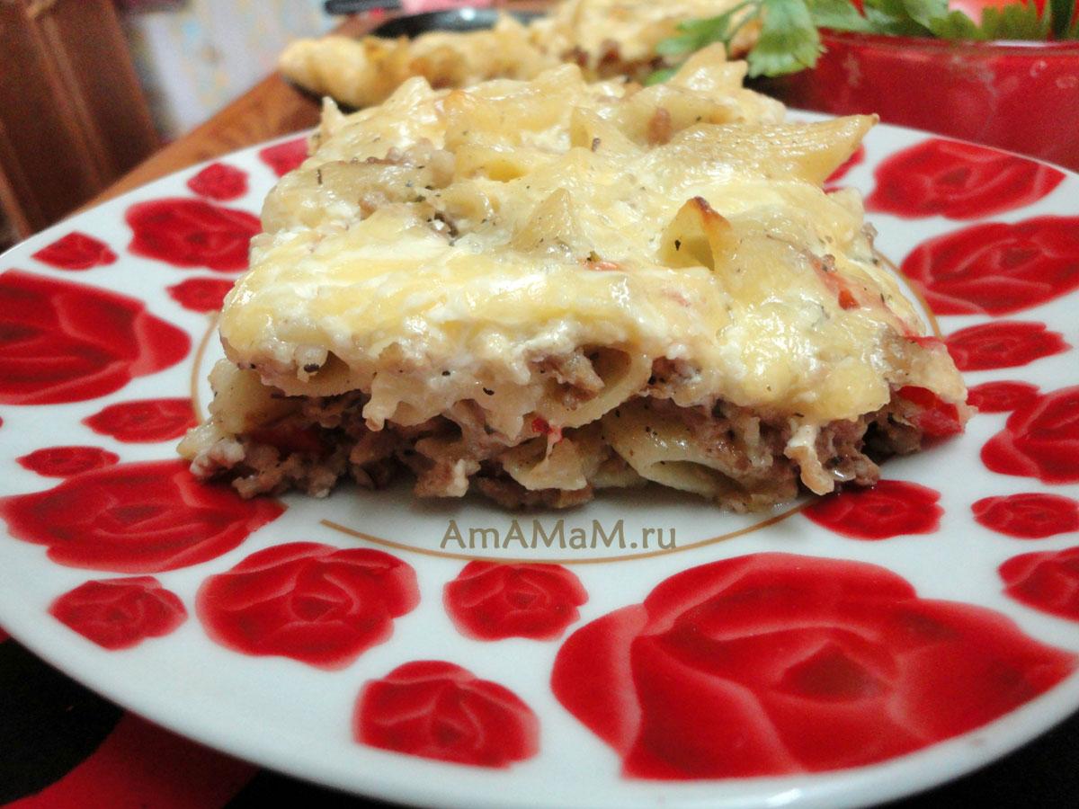 Вермишель с фаршем и сыром в духовке рецепт пошагово
