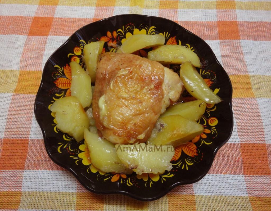Способ приготовления куриных бедрышек с картофелем