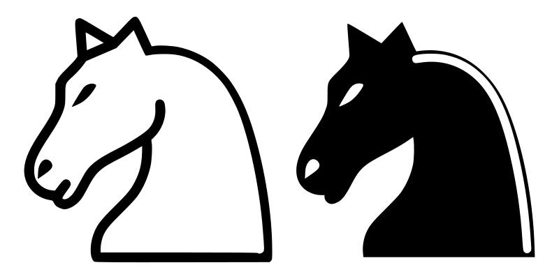 Белый и черный шахматный конь