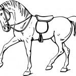 Как нарисовать лошадь в сбруе - уздечка, седло
