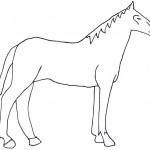 Шаблон лошади - простой рисунок коня