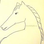 Простой рисунок лошади - трафарет
