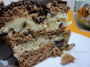 Вкусный торт с халвой, шоколадом и орехами - рецепт