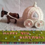 Торт в виде кареты из тыквы с осликом