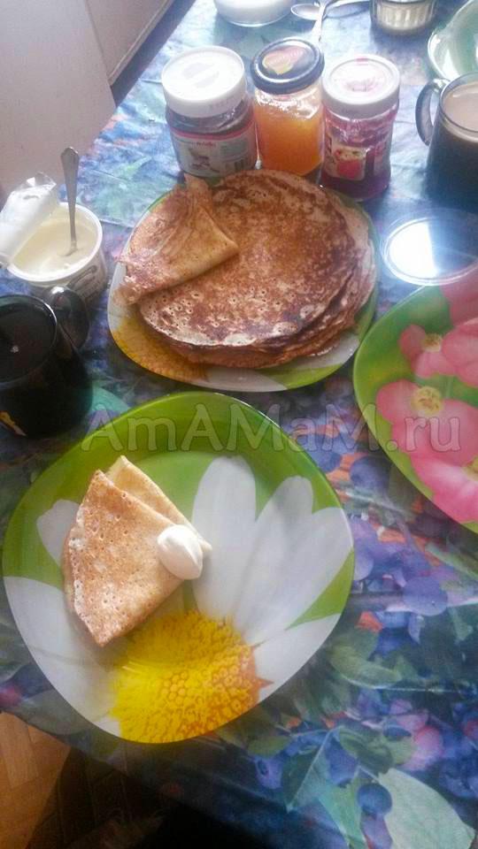 Рецепт блинов на молоке со сметаной