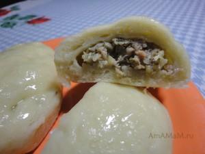 Корейские паровые пирожки пигоди (начинка из фарша)