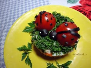 Праздничный салат с божьими коровками
