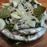 Шкару выкладывают слоями - рыба-лук-рыба