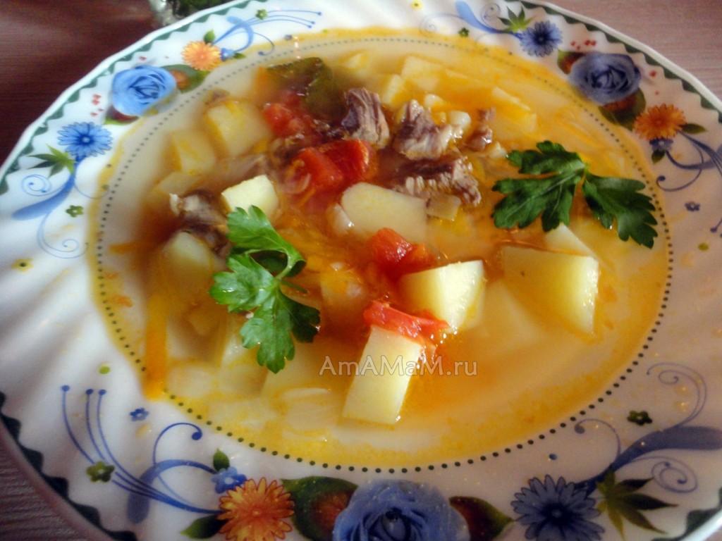 Тарелка супа на бараньих ребрах
