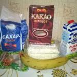 Банановый десерт из творога и шоколада