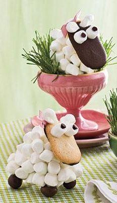 Съедобные овечки (сладкие - печенье и зефир)
