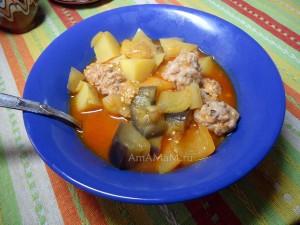 Что приготовить из картошки, баклажанов, перца и фарша - овощное рагу с фрикаддельками
