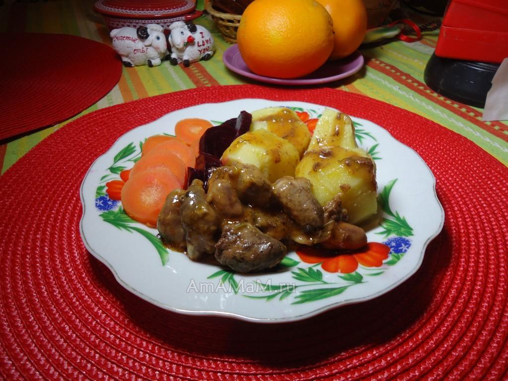 Рецепт обеда с куриными сердечками