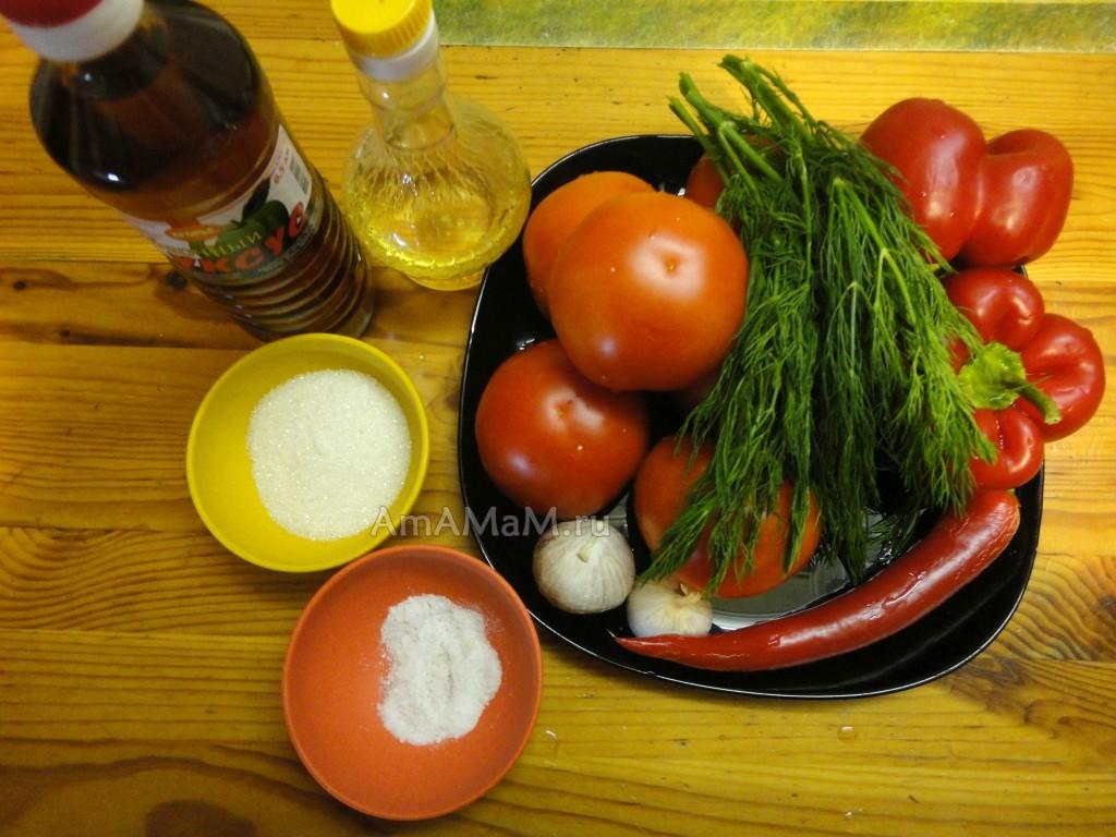 Рецепт быстрых маринованных помидоров (дольками)