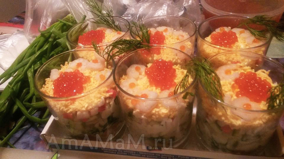 Как подать морской салат с креветками - идеи