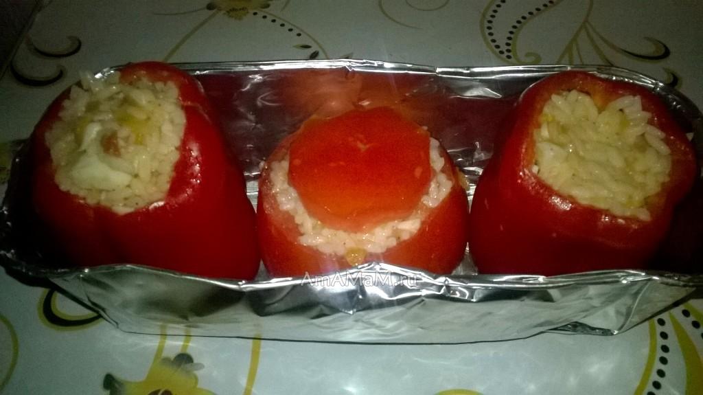 Запекание овощей в духовке (начинка из риса с кальмарами)